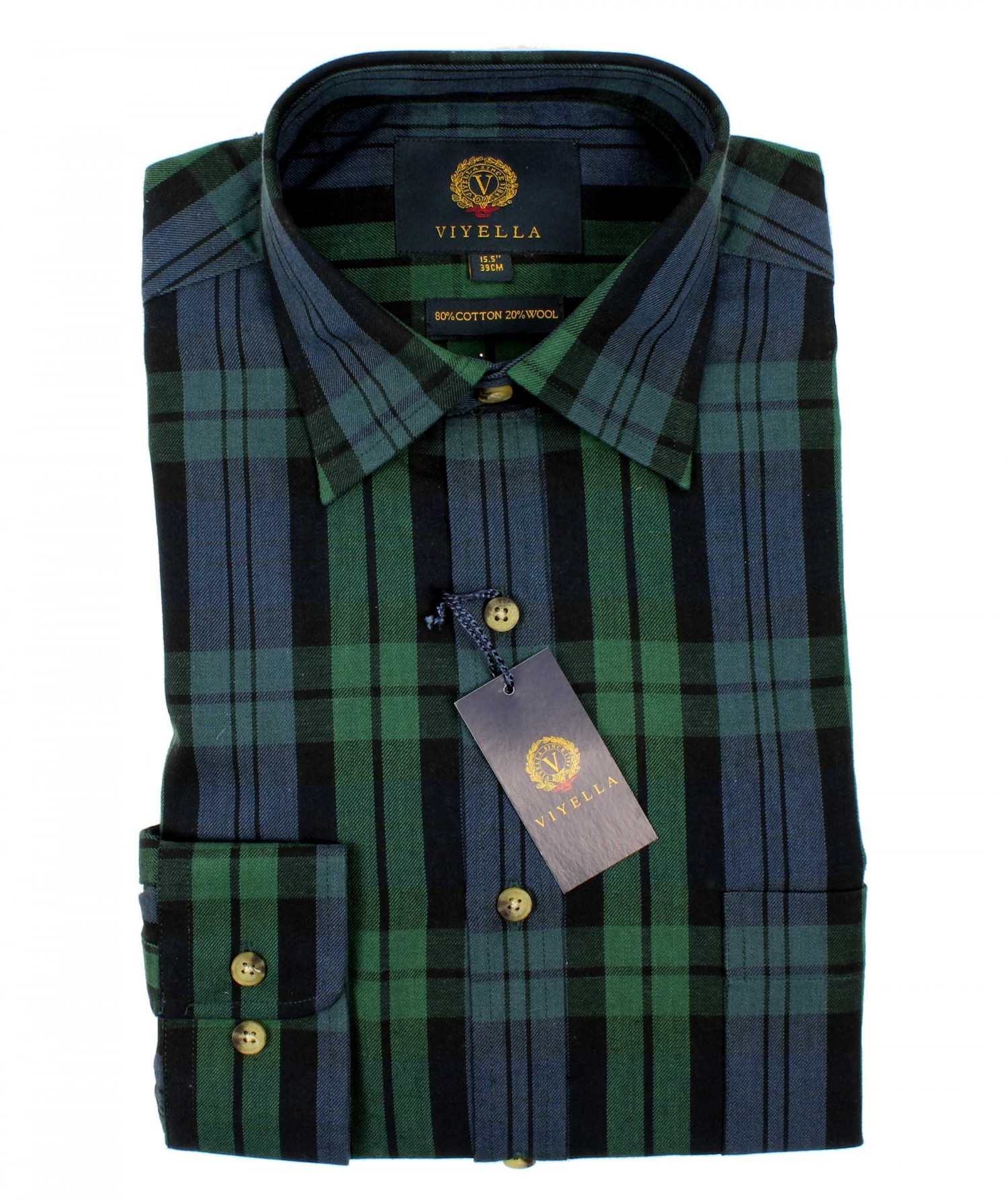 b0871274a0 Viyella Black Watch Tartan 80 20 Cotton Wool Blend Shirt