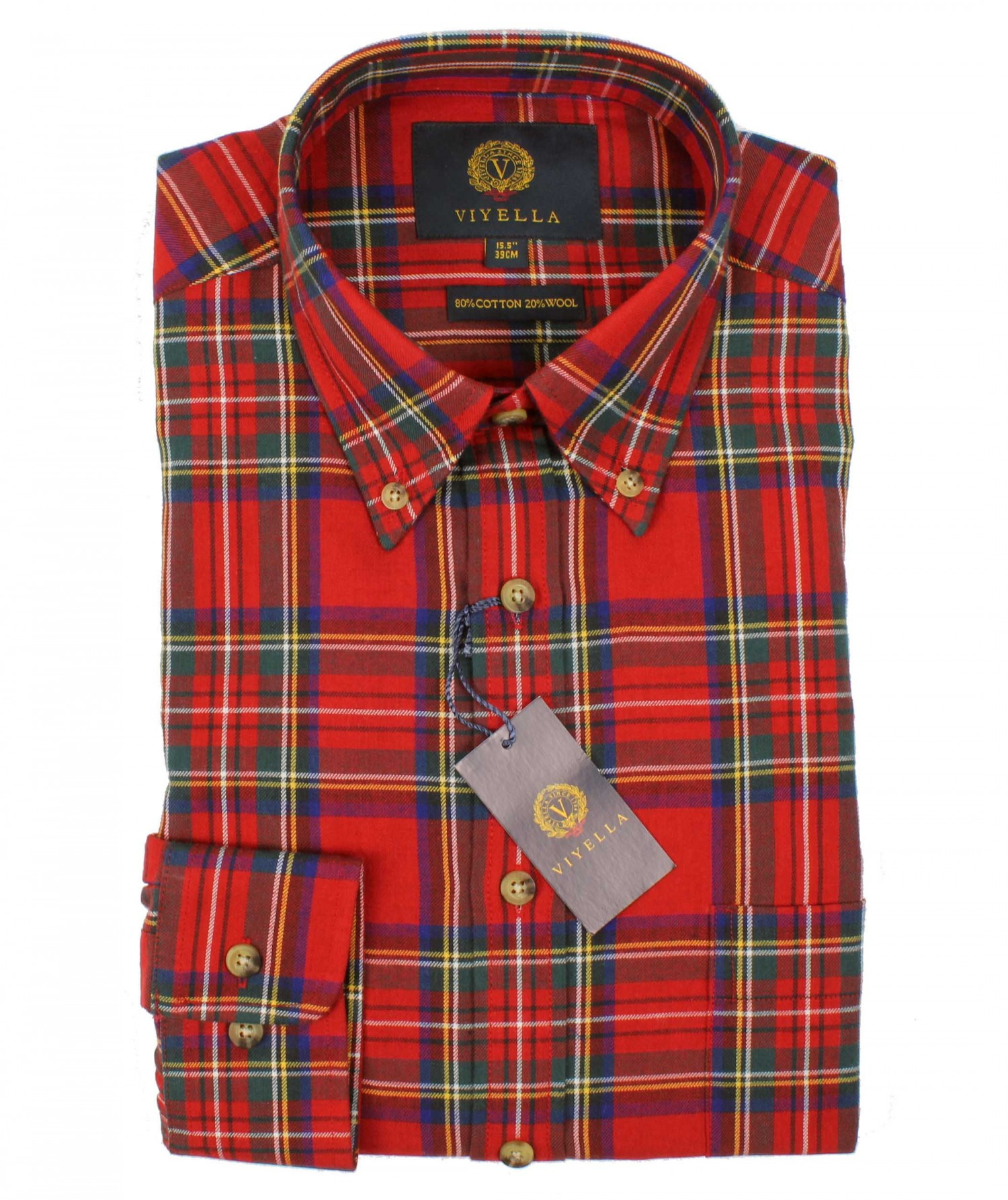 Viyella Red Royal Stewart Tartan 80 20 Cotton Wool Blend