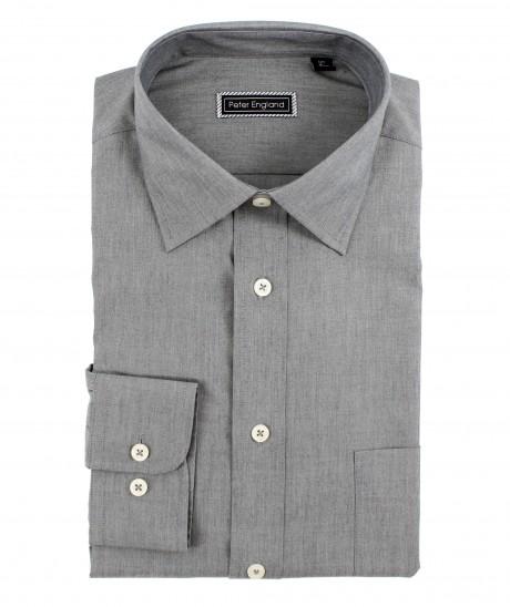 Peter England Cotton Plain Grey Shirt
