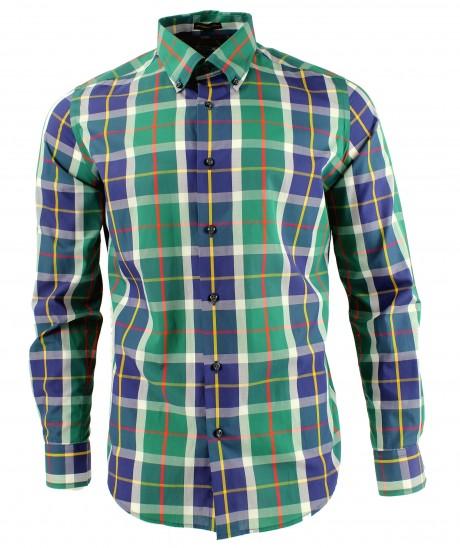 Viyella Modern Fit Club Check Long Sleeve Supima Cotton Shirt