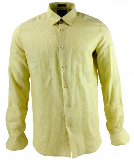 Viyella Modern Fit Plain Lemon Long Sleeve Linen Shirt