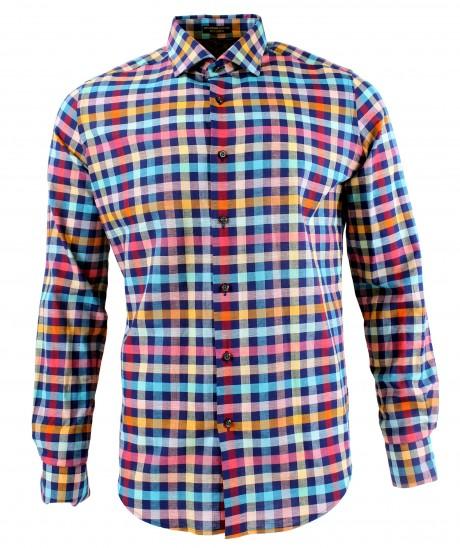 Viyella Modern Fit Blue with Bright Check Long Sleeve Supima Cotton & Linen Shirt