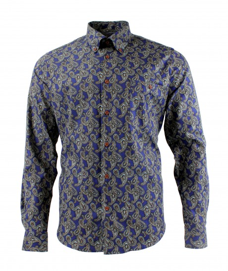 Viyella Cotton Blue Paisley Print Modern Fit Shirt
