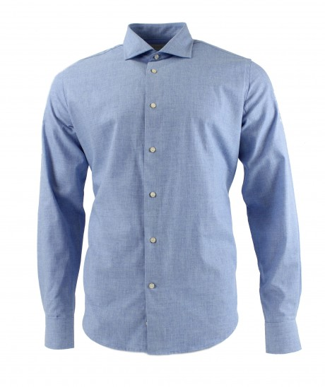 Viyella 80/20 Brushed Plain Light Blue Modern Fit Shirt