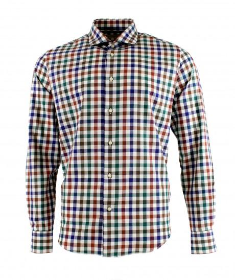 Viyella 80/20 Green & Blue Melange Club Check Modern Fit Shirt