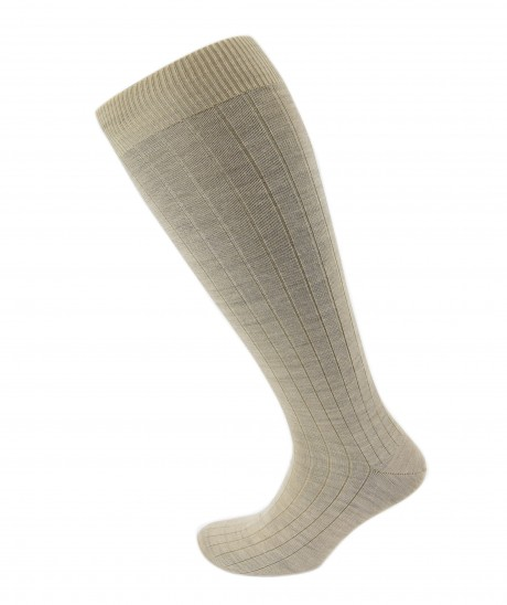 Viyella Mens Knee High Wool Ribbed Sock With Hand Linked Toe