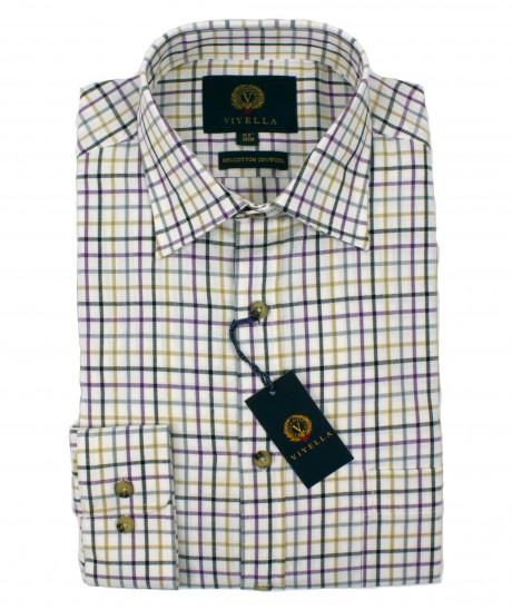 Viyella Tattersall 80/20 Cotton Wool Blend Shirt in Heather