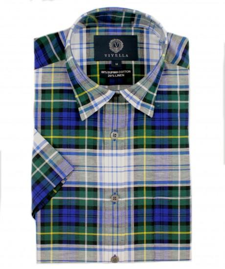 Viyella Classic Fit Campbell Dress Tartan Short Sleeve Supima Cotton & Linen Shirt