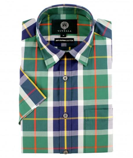 Viyella Classic Fit Club Check Short Sleeve Supima Cotton Shirt