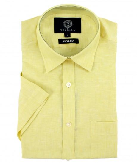 Viyella Classic Fit Plain Lemon Short Sleeve Linen Shirt