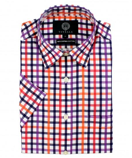 Viyella Classic Fit Navy Blue & Red Satin Check Short Sleeve Supima Cotton Shirt