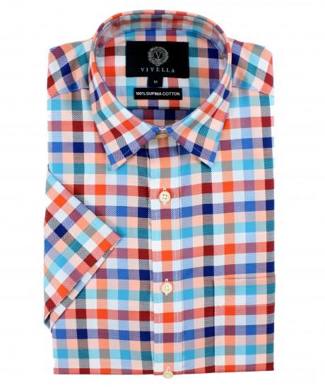 Viyella Classic Fit Red & Blue Oxford Check Short Sleeve Supima Cotton Shirt