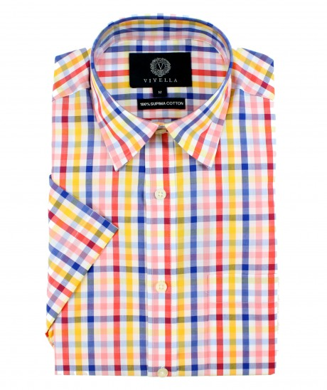 Viyella Classic Fit Multi Coloured Tattersall Check Short Sleeve Supima Cotton Shirt