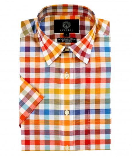 Viyella Classic Fit Bright Bold Check Short Sleeve Supima Cotton & Linen Shirt