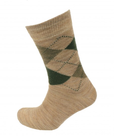 Viyella Made in England Mens Beige Argyle Wool Socks