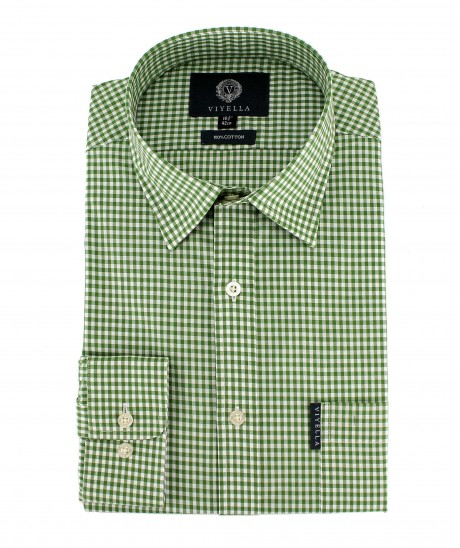 Viyella Mens Green Gingham Check Cotton Shirt