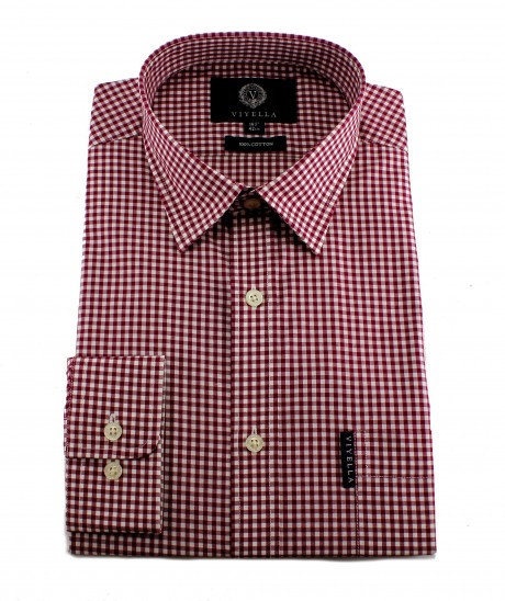 Viyella Mens Red Gingham Check Cotton Shirt