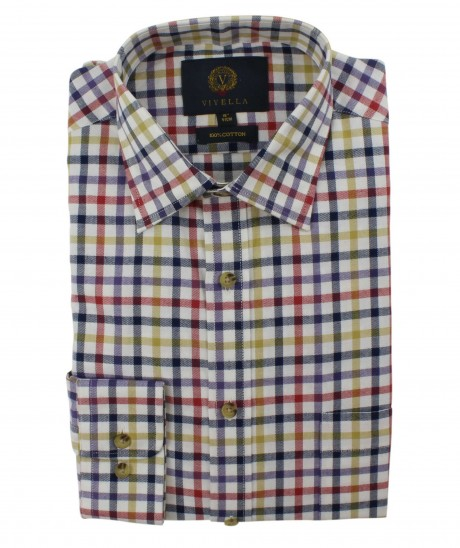 Viyella Multi Coloured Club Check Cotton Shirt