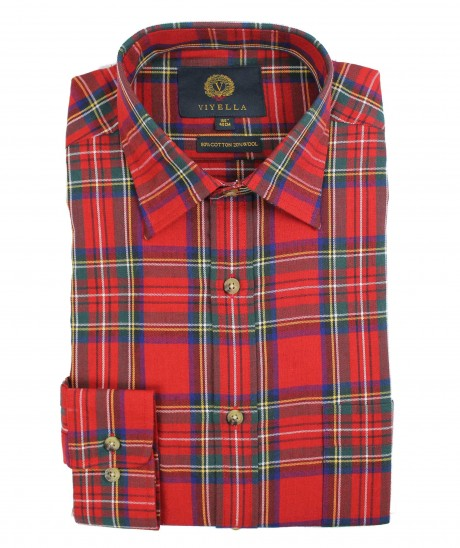 Viyella Red Royal Stewart Tartan 80/20 Cotton Wool Blend Shirt