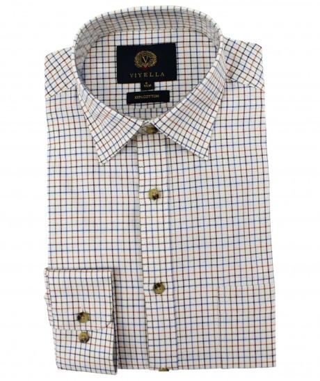 Viyella Cotton Russet Tattersall Classic Fit Shirt