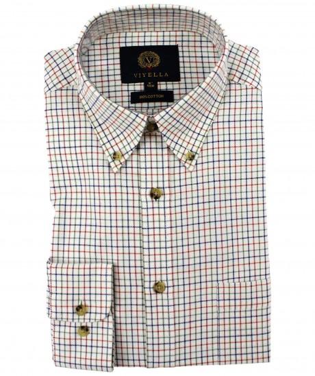 Viyella Plum Classic Tattersall Cotton Shirt with Button Down Collar