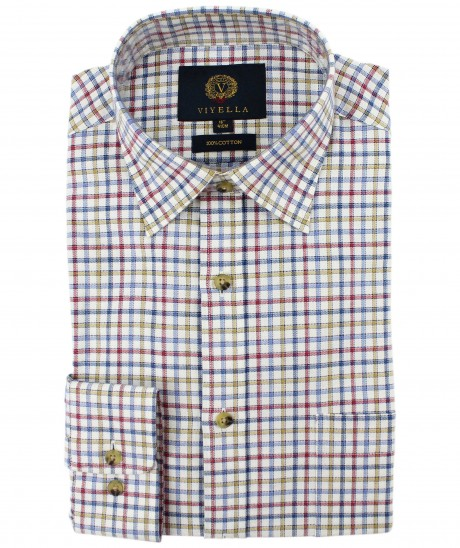 Viyella Blue Edged Check Cotton Shirt