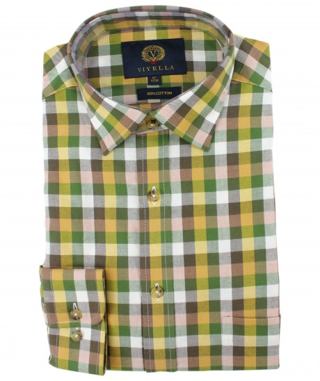 Viyella Green & Gold Square Check Cotton Shirt