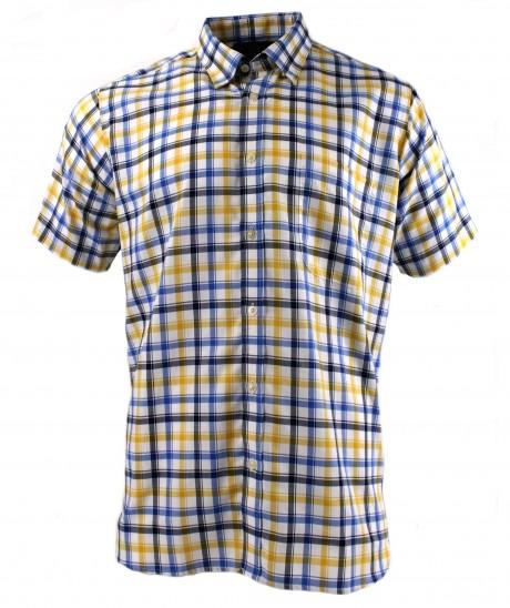 Viyella Blue Oxford Edged Check Short Sleeve Cotton Shirt