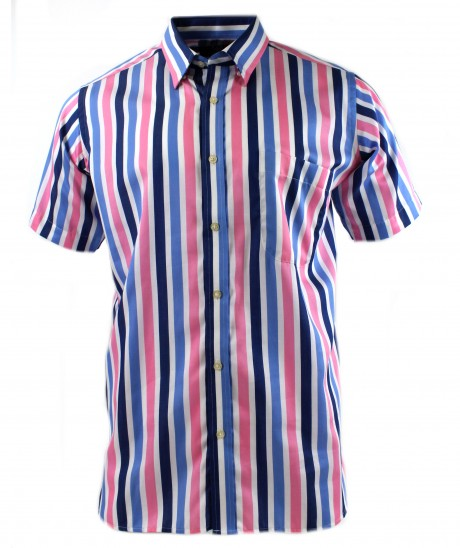 Viyella Blue Full Face Sateen Stripe Short Sleeve Cotton Shirt