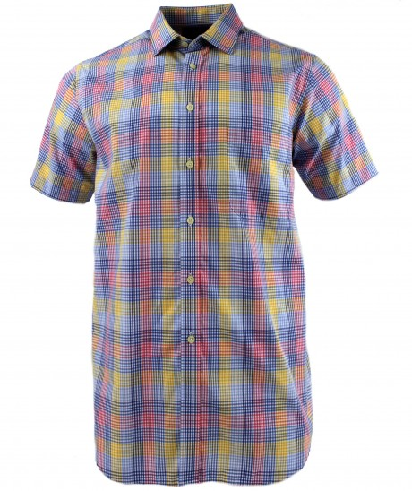 Viyella Multi-Coloured Gingham Check Short Sleeve Cotton Shirt