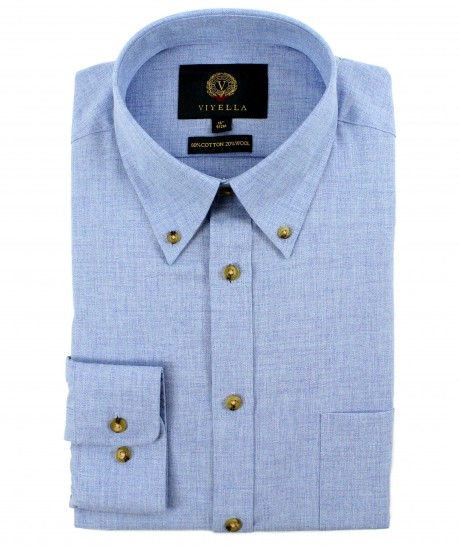 Viyella 80/20 Brushed Plain Light Blue Classic Fit Shirt with Button Down Collar