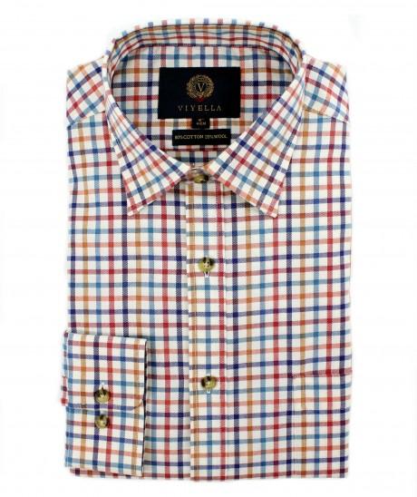Viyella 80/20 Blue & Red Tattersall Classic Fit Shirt