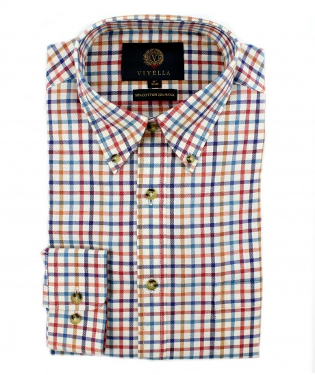 Viyella 80/20 Blue & Red Tattersall Classic Fit Shirt with Button Down Collar