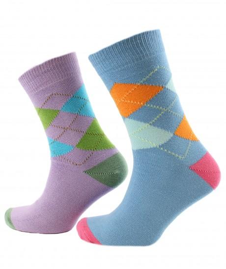 Viyella 2 Pair Pack Made in England Argyle Intarsia Cotton Socks - Blue & Lilac