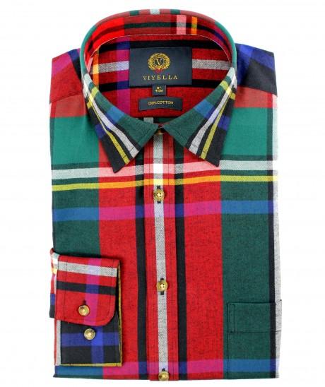 Viyella Cotton Large Black Stewart Tartan Classic Fit Shirt