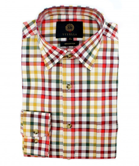 Viyella Cotton Multicoloured Tattersall Check Classic Fit Shirt