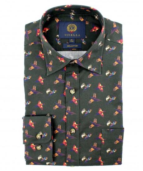 Viyella Cotton Green Pheasant Print Classic Fit Shirt