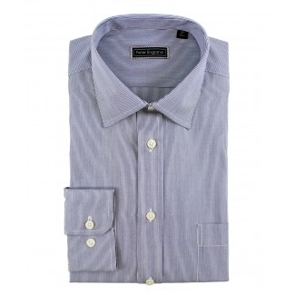 Peter England Cotton Blue Pin Stripe Shirt