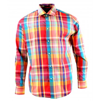 Viyella Modern Fit Bright Madras Check Long Sleeve Supima Cotton Shirt