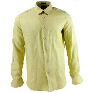 Viyella Modern Fit Plain Lemon Long Sleeve Linen Shirt
