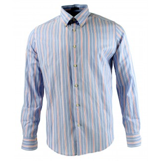 Viyella Modern Fit Blue Oxford Stripe Long Sleeve Supima Cotton Shirt