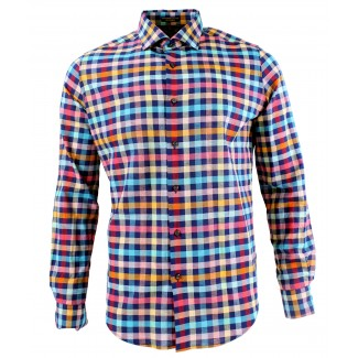 Viyella Modern Fit Blue with Bright Check Long Sleeve Supima Cotton & Linen Shirt