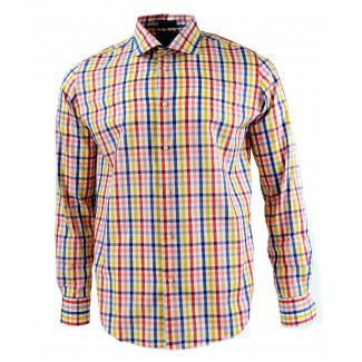 Viyella Modern Fit Multi Coloured Tattersall Check Long Sleeve Supima Cotton Shirt