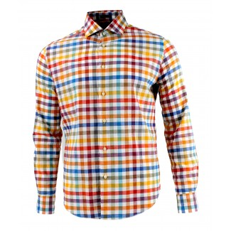 Viyella Modern Fit Bright Bold Check Long Sleeve Supima Cotton & Linen Shirt