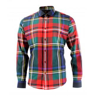 Viyella Cotton Large Black Stewart Tartan Modern Fit Shirt
