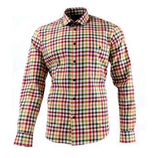 Viyella Cotton Multicoloured Tattersall Check Modern Fit Shirt