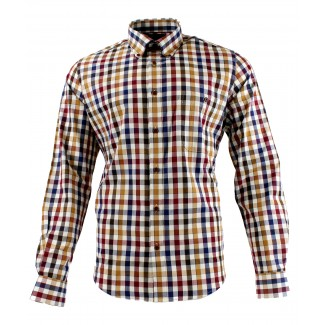 Viyella Cotton Brown Edged Check Modern Fit Shirt