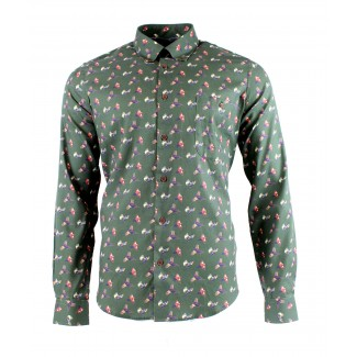 Viyella Cotton Green Pheasant Print Modern Fit Shirt