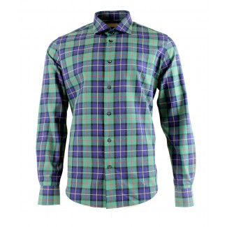 Viyella 80/20 Green & Blue House Check Modern Fit Shirt