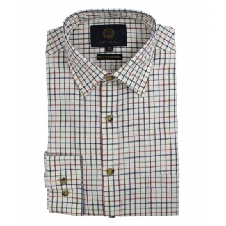Viyella 80/20 Plum & Blue Tattersall Check Classic Fit Shirt